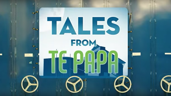 Tales from Te Papa image with silhouette of Te Papa in the background