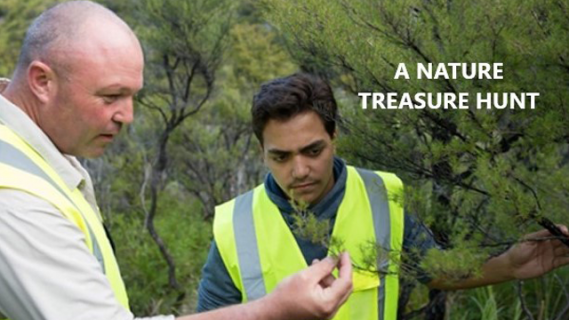 """Image of two men standing among trees. Text on image says """"A nature treasure hunt"""""""