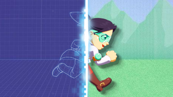 Cartoon girl transitioning from basic outline of a drawing to full colour image, as she's running across the screen