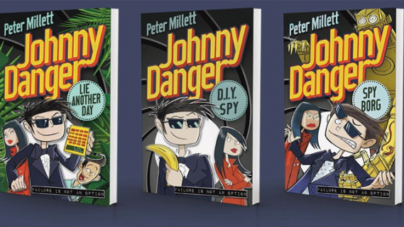 Covers of three Johnny Danger books: Lie Another Day, DIY Spy, Spy Borg