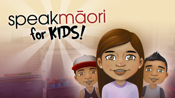 Speak Maori for kids logo with three cartoon children