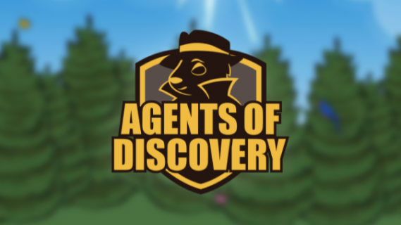 Agents of Discovery logo with an illustration of an animal dressed as a secret agent
