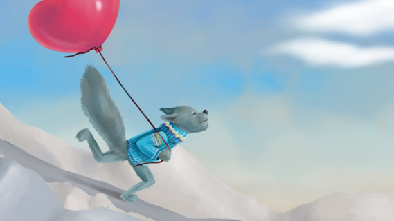 Illustration of grey wolf wearing a sweater and skiing snowy slopes while holding a balloon