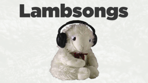 Toy lamb wearing headphones
