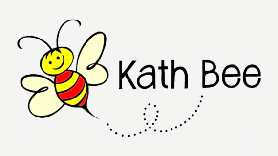 Kath Bee logo with a cartoon illustration of a bee