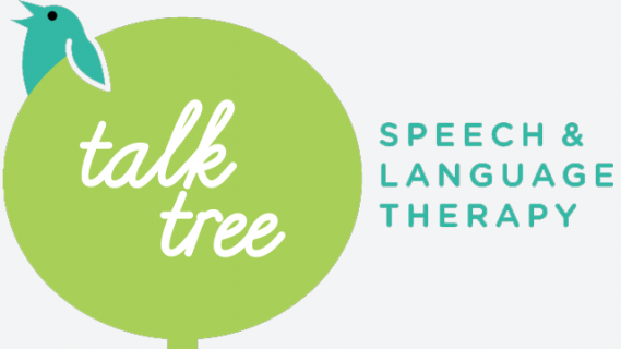 Talk tree speech and language therapy. Drawing of chirping bird sitting at the top of a drawing of a tree.