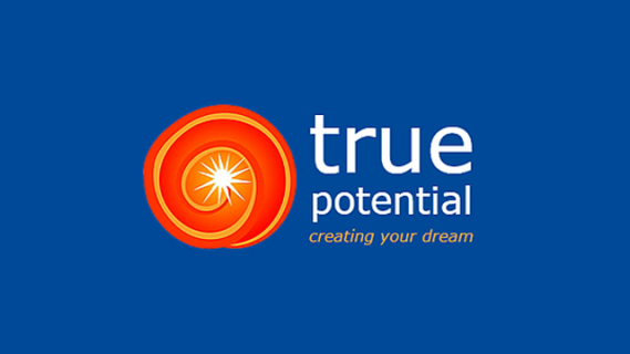 True potential - creating your dream logo with orange spiral with bright spot in the middle