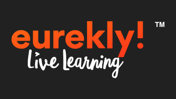 Eurekly logo in red and white text on a black background
