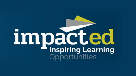 ImpactED logo in green and white text on a dark blue background. The logo includes a white, grey and green outline of a paper plane.