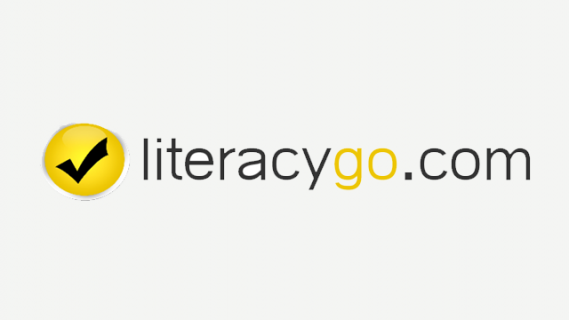 Literacygo logo in black and yellow text. On the left is a symbol of a black tick inside a yellow circle