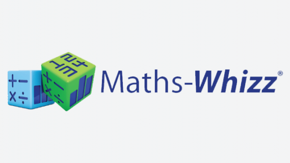 Maths Whizz logo containing the name in blue text and two 3D dice coloured green and blue.
