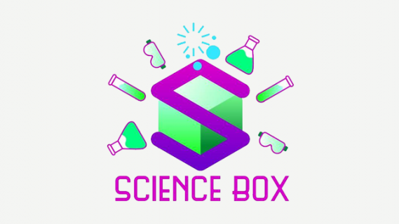 Science Box logo with a green cube surrounded by illustrated chemistry equipment