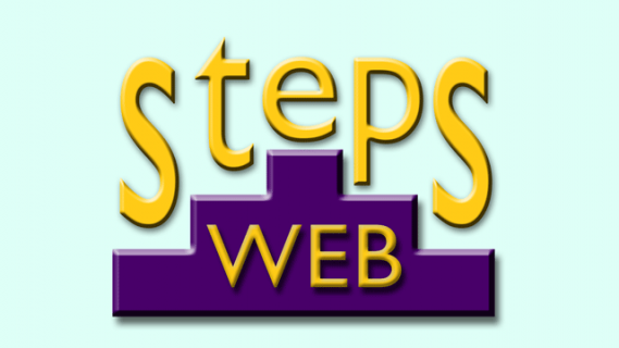 StepsWeb logo in yellow text on a light blue background. Part of the text is overlaid on a purple outline of ascending and descending stairs.