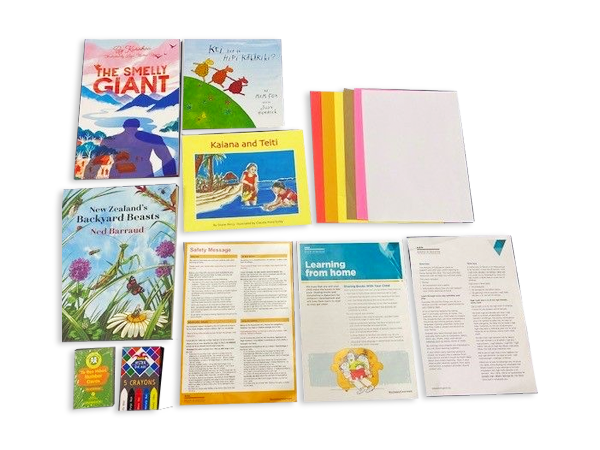 Collection of resources: the Smelly Giant book, Kei hea te Hipi Kakariki? book, Kaiana and Teiti book, New Zealand's Backyard Beasts book, Te Reo Number Cards 1-10 (20 pcs), Pack of 6 Crayons, Learning from Home Brochure - English, A4 Cover Letter - Bilingual, Safety Message English / All Languages, Coloured Paper, White Paper
