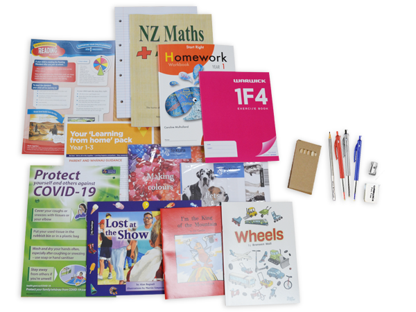 Contents of the year 1 resource pack including books and stationery