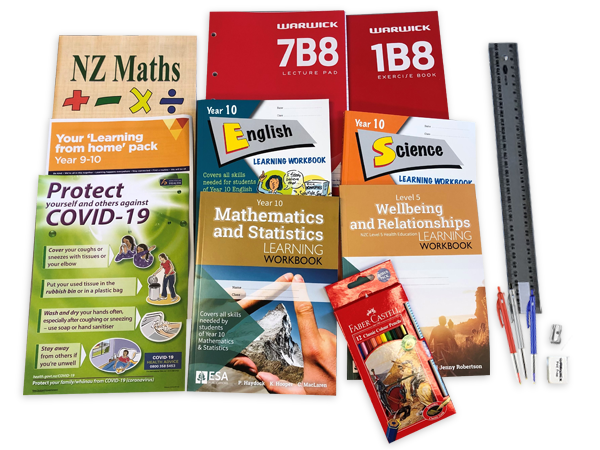 Contents of the year 10 resource pack including books and stationery