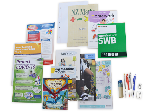 Contents of the year 2 hard copy resource pack including books and stationery