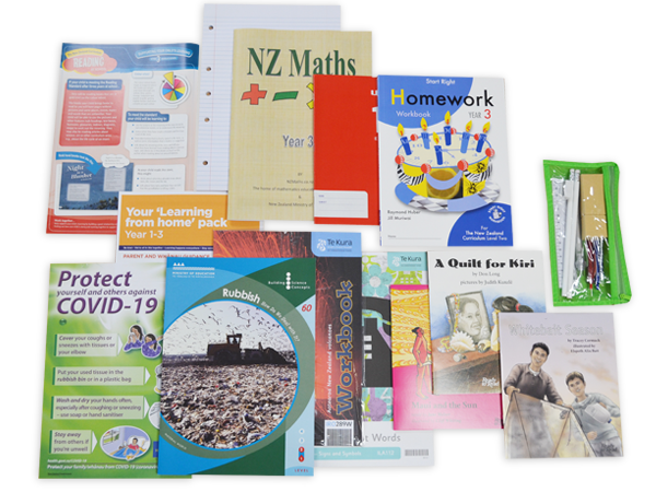 Contents of the year 3 hardcopy resource pack including books and stationery