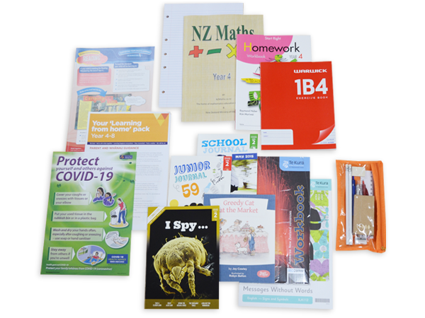 Contents of the year 4 hardcopy resource pack including books and stationery