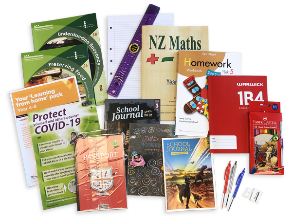 The contents of the year 5 resource pack including books and stationery