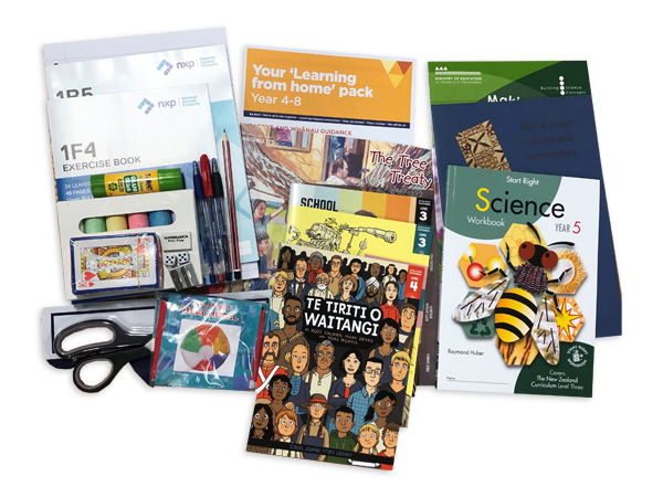 Photograph taken from above of the Year 5 hard pack. The pack contains various workbooks, exercise books and stationery.