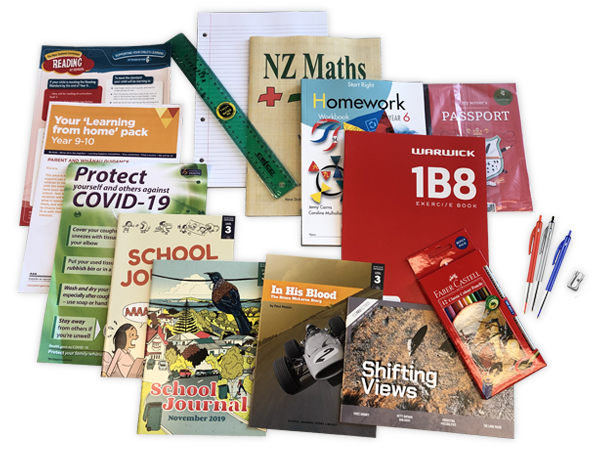 Contents of the Year 6 resource pack including books and stationery