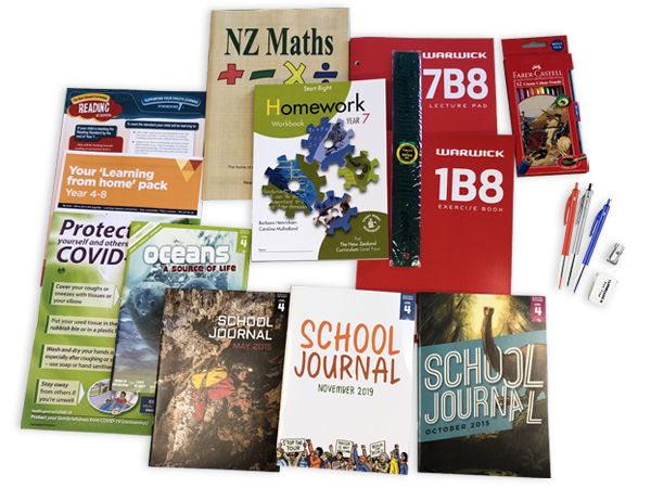 Contents of the year 7 resource pack including books and stationery