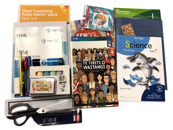 Photograph taken from above of the Year 7 hard pack. The pack contains various workbooks, exercise books and stationery.