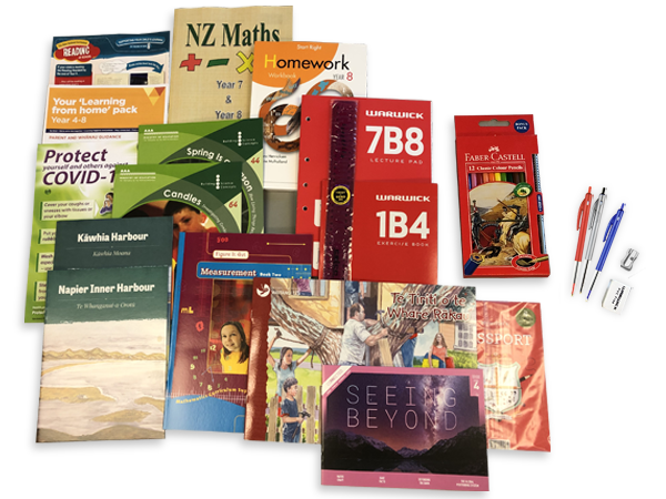 Contents of the year 8 resource pack including books and stationery