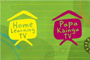 Drawings of tv screens with roofs above them, representing the home learning and papa kāinga tv channels